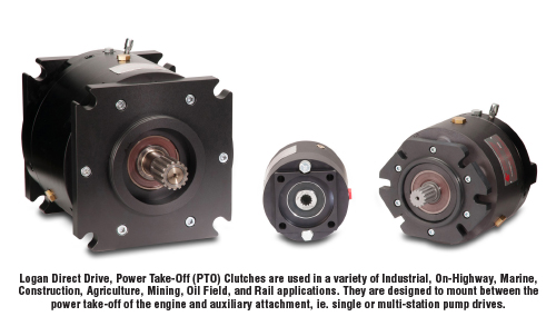 Logan Direct Drive, Power Take-off (PTO) Clutches are used in a variety of Industrial, On-Highway, Marine, Construction, Agriculture, Mining, Oil Field, and Rail applications. They are designed to mount between the power take-off of the engine and auxiliary attachment, ie. single or multi-station pump drives.