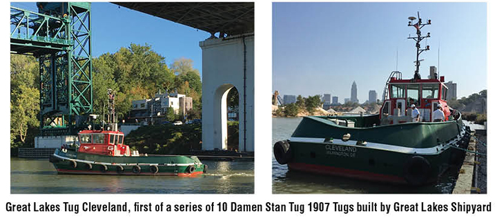 Great Lakes Tug Cleveland, first of a series of 10 Damen Stan Tug 1907 Tugs built by Great Lakes Shipyard