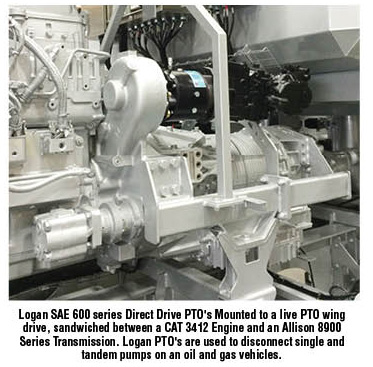 Logan SAE 600 series Direct Drive PTO's Mounted to a live PTO wing drive, sandwiched between a CAT 3412 Engine and an Allison 8900 Series Transmission. Logan PTO's are used to disconnect single and tandem pumps on an oil and gas vehicles.