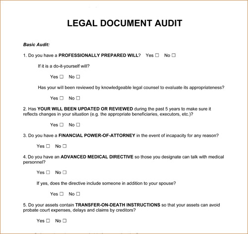 Complete A Legal Document Audit - Will legal document