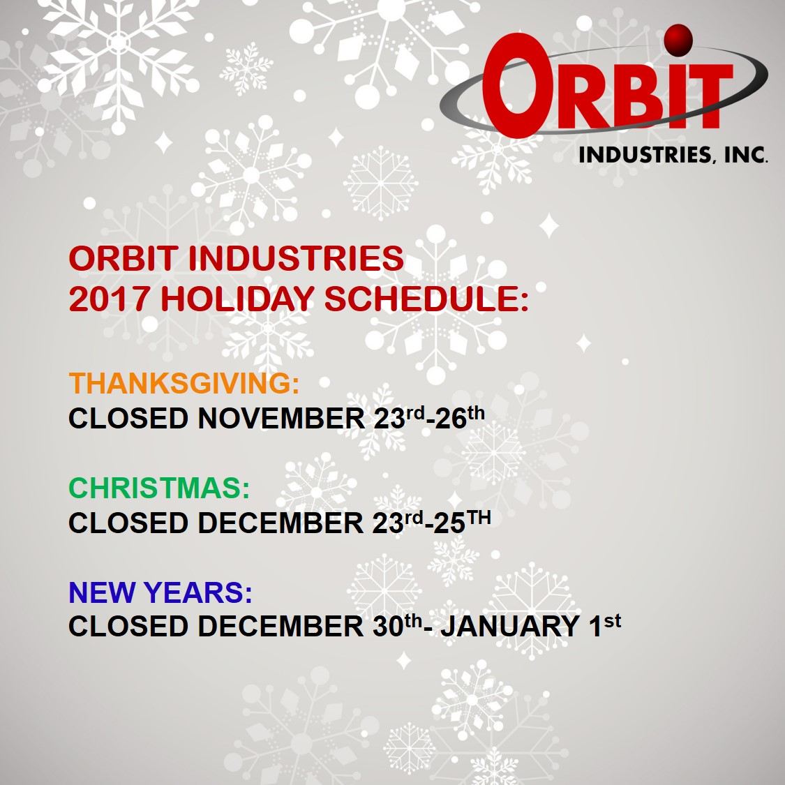 Orbit NDT Holiday Hours