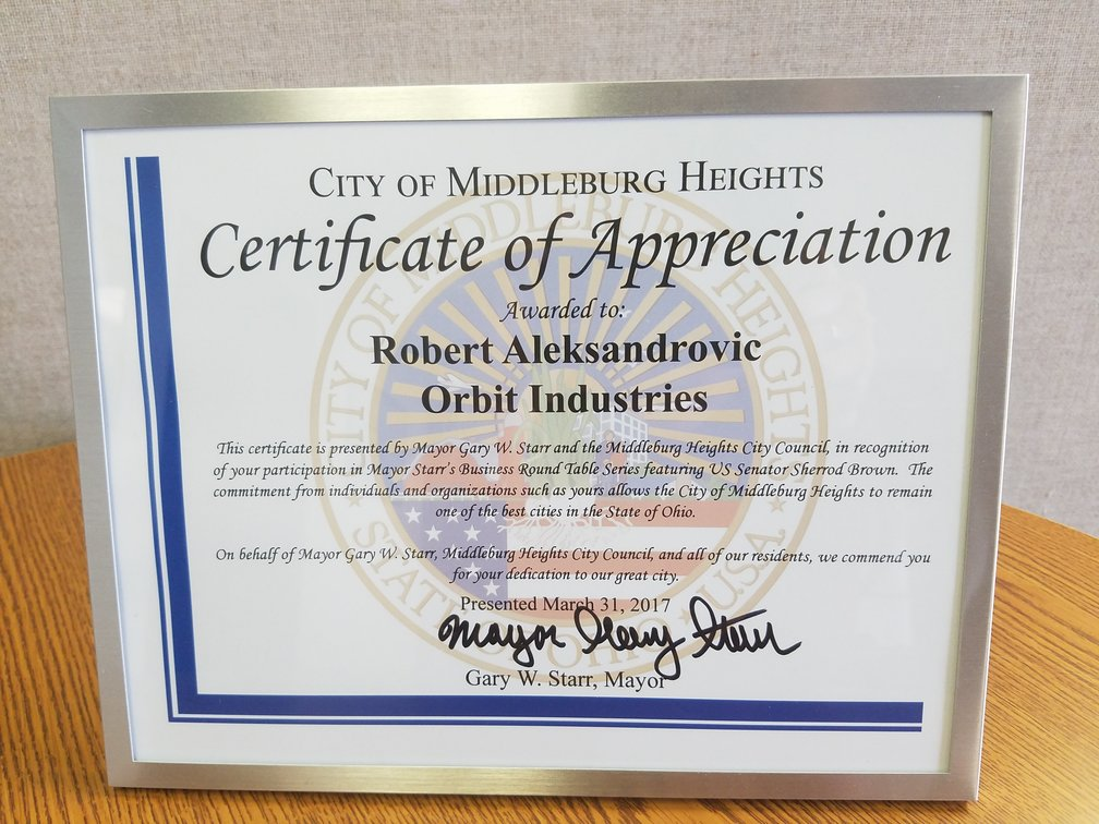 Image of the certificate awarded to Robert Aleksandrovic of Orbit Industries from the City of Middleburg Heights