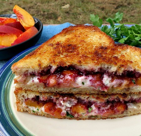 Blackberry Peach Grilled Goat Cheese Sandwich  | Project Heard