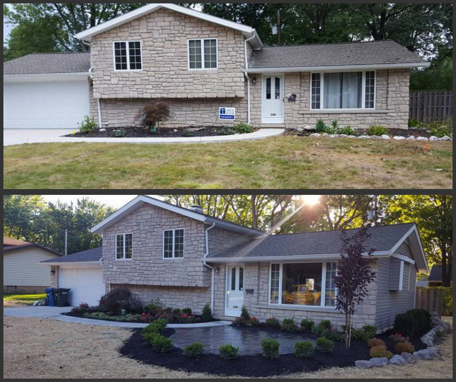 Before and after one-day landscape makeover in Avon Lake, Ohio | Seasonal Yard Work