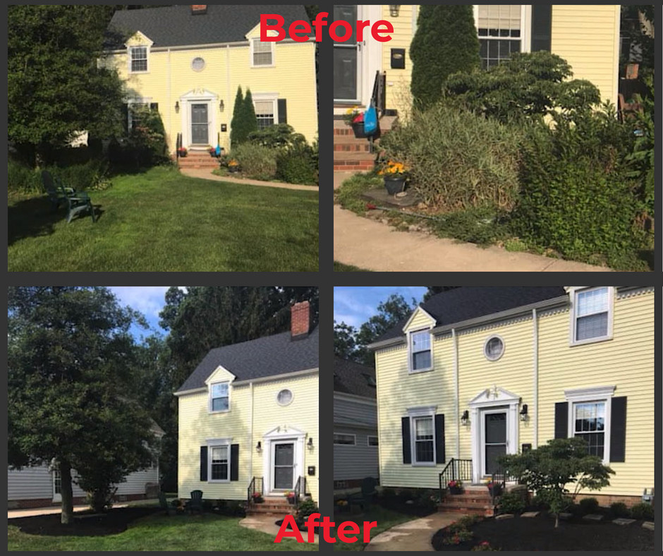 Before and after one-day landscape makeover in Bay Village, Ohio | Seasonal Yard Work