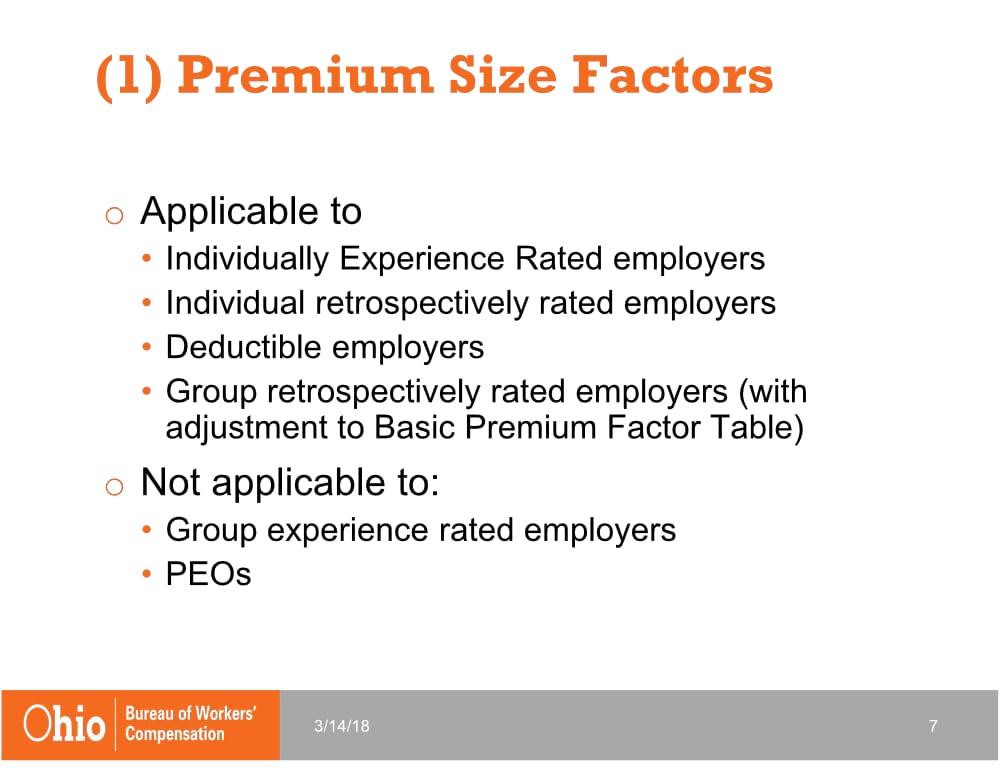 Premium Size Factors | 2019 Changes to Ohio BWC | Spooner Incorporated