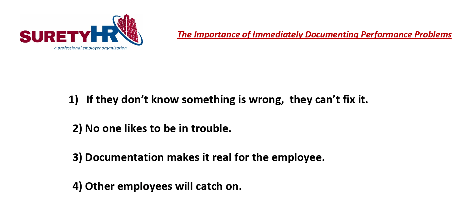 Surety HR shares the importance of instant documentation of employee issues | Cleveland, OH