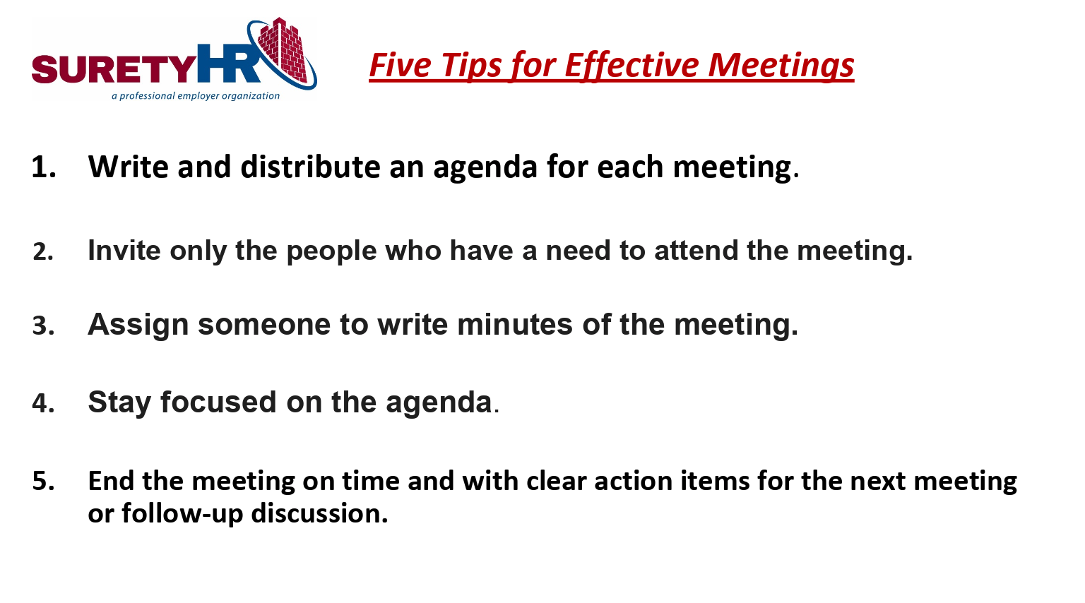 Five tips for an effective meeting | Surety HR | Cleveland, OH