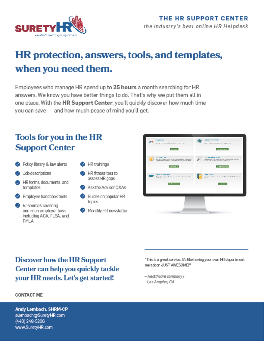 This document shows how employees who manage HR (or small business owners who wear that HR hat) can spend up to 24 hours a month trying to find out an answer to a major question they could easily get in seconds, right through Surety's HR support center platform. | Surety HR