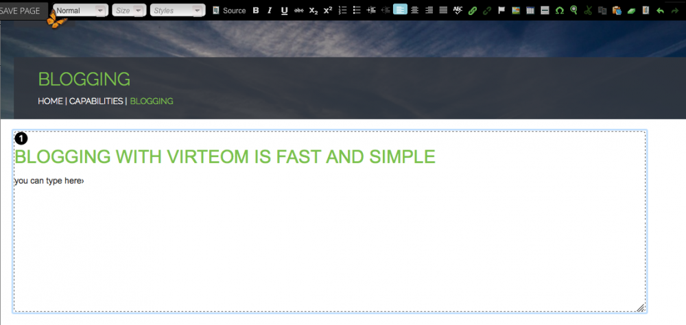 Blogging with Virteom | Editing On-Page Content