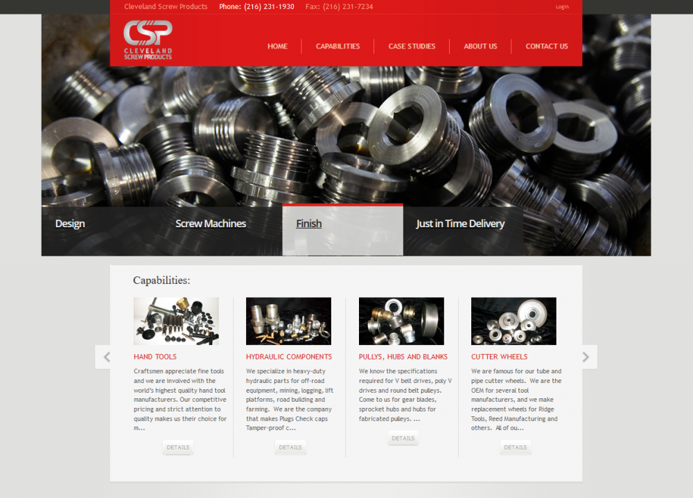 Cleveland Screw Products website after Virteom redesigned it