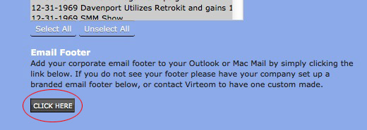 Manage your companies email footers on Virteom CMS