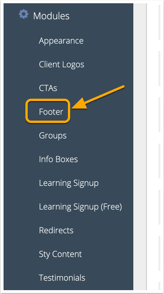 Navigation to Footer