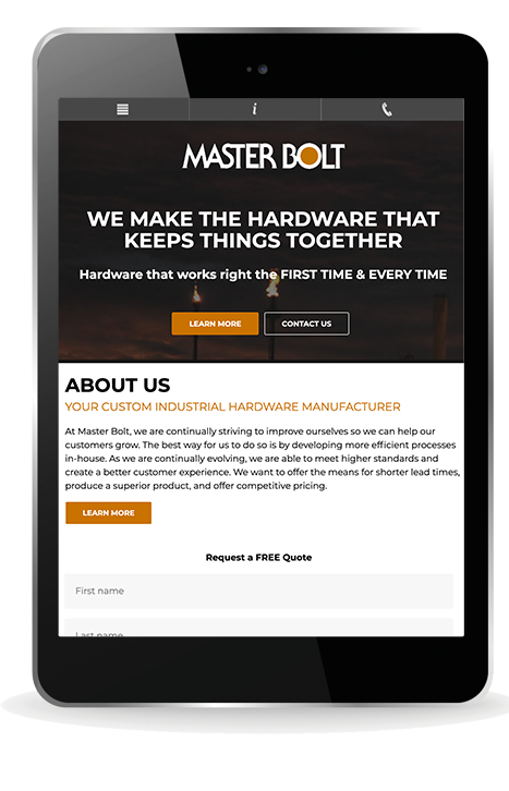 Master Bolt Website Build