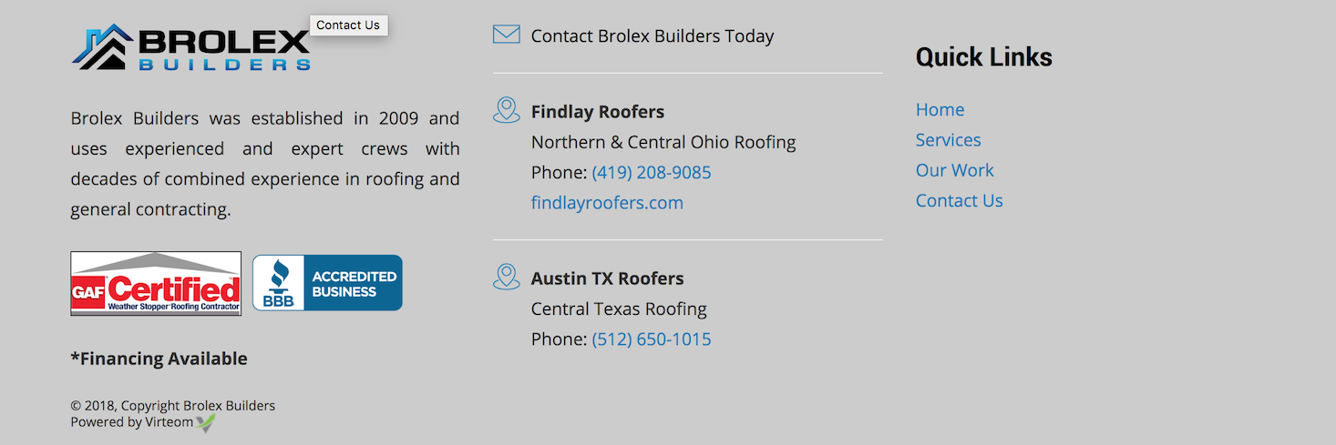 Brolex Builders footer | Virteom