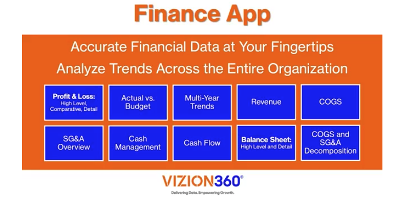 Vizion360 Power BI Finance App for the CEO and CFO