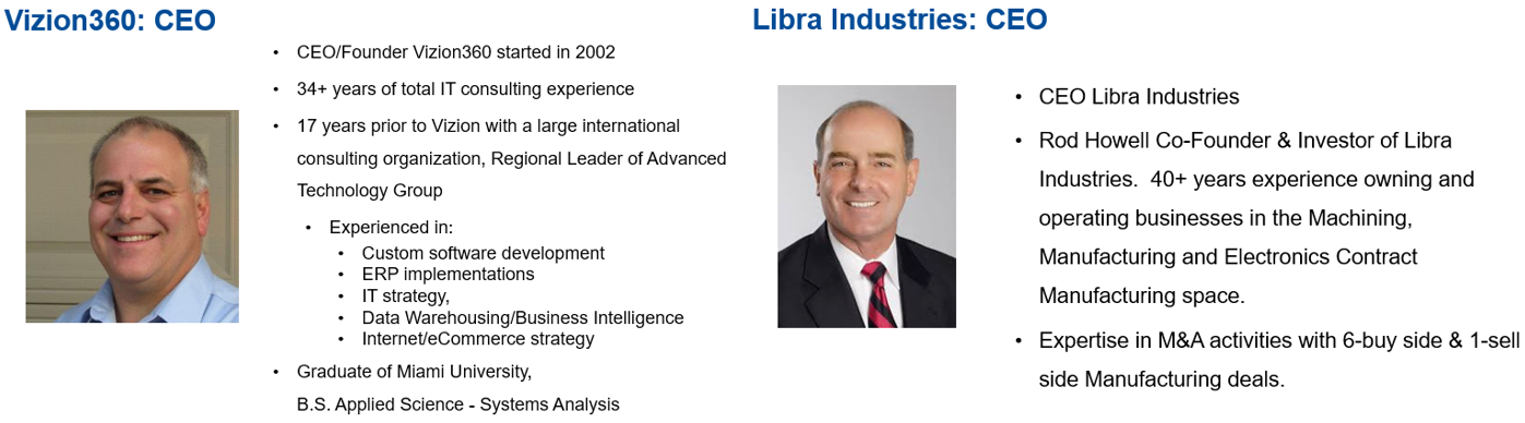 Joe Vocaire and Rod Howell Background and Expertise in Smart Manufacturing for Webinar
