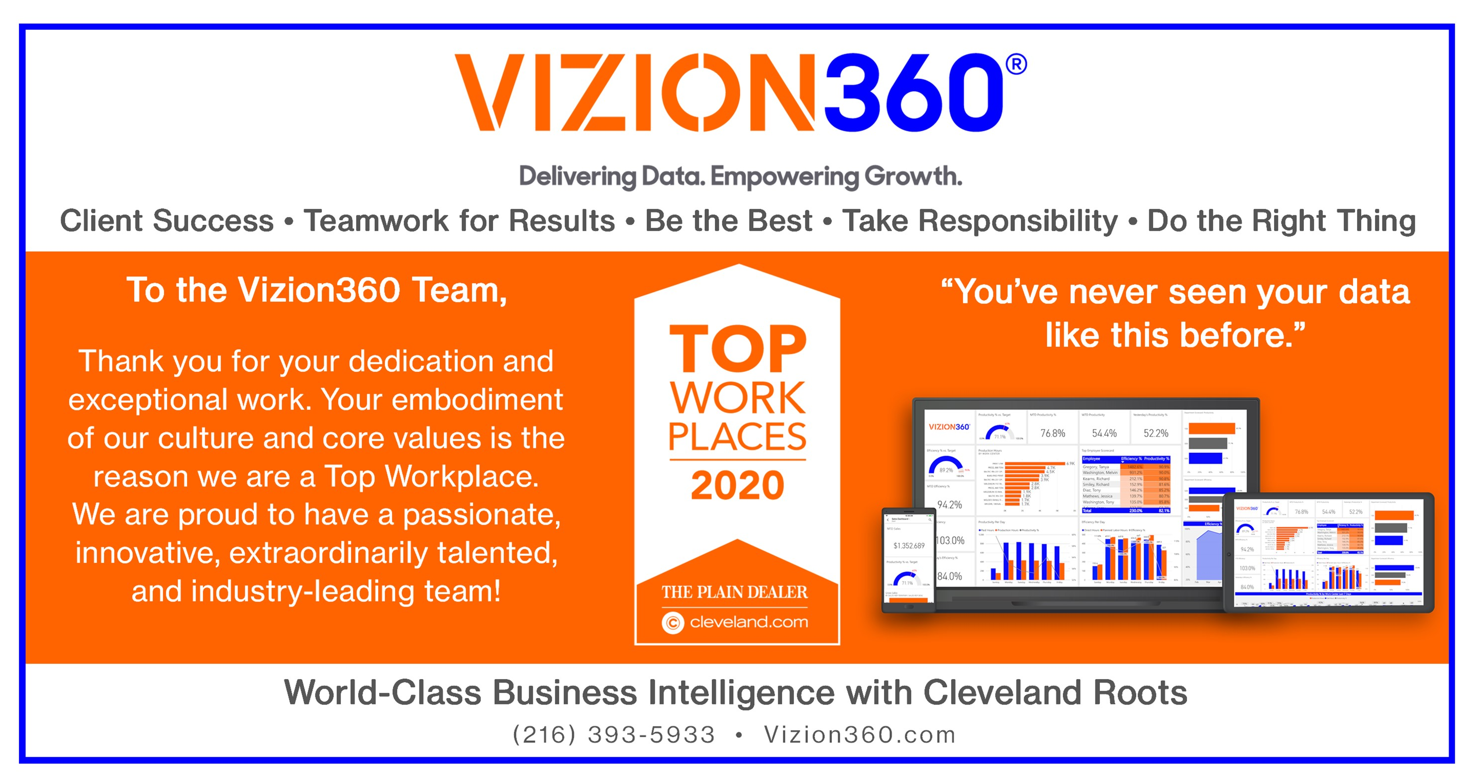 Vizion360 Top Workplace Award and Team Thank You