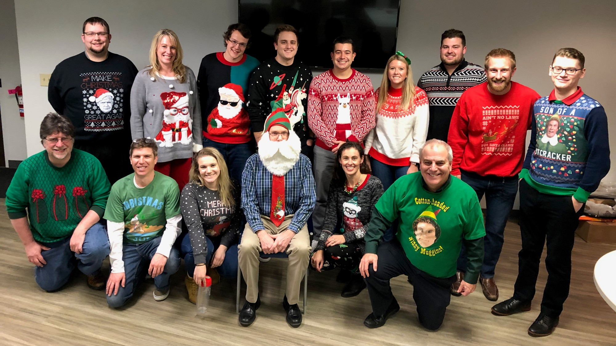 Christmas Sweater Pic of some of the Vizion360 Team