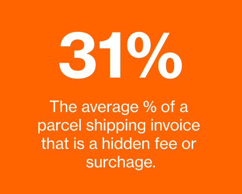 An average of 31% of parcel shipping invoices are hidden accessorial fees or surcharges. Parcel BI