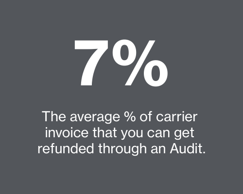 An average of 7% of carrier invoices can be refunded through an audit. Parcel BI