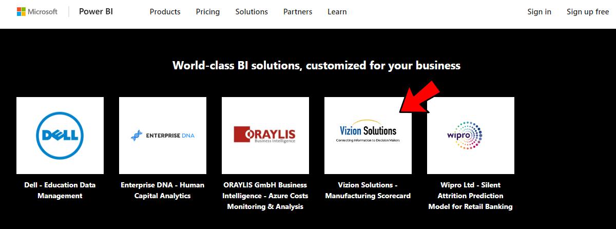 Innovators of Microsoft Power BI, Vizion Solutions's is featured in Microsoft's Partner Showcase for Power BI