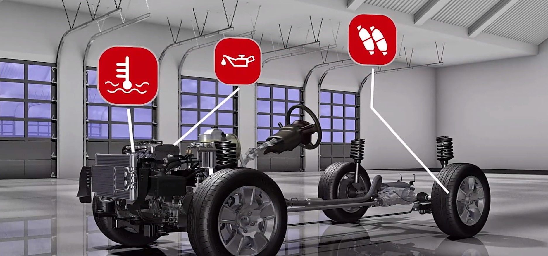 A visual of some difference maintenance areas and whether they are on your vehicle