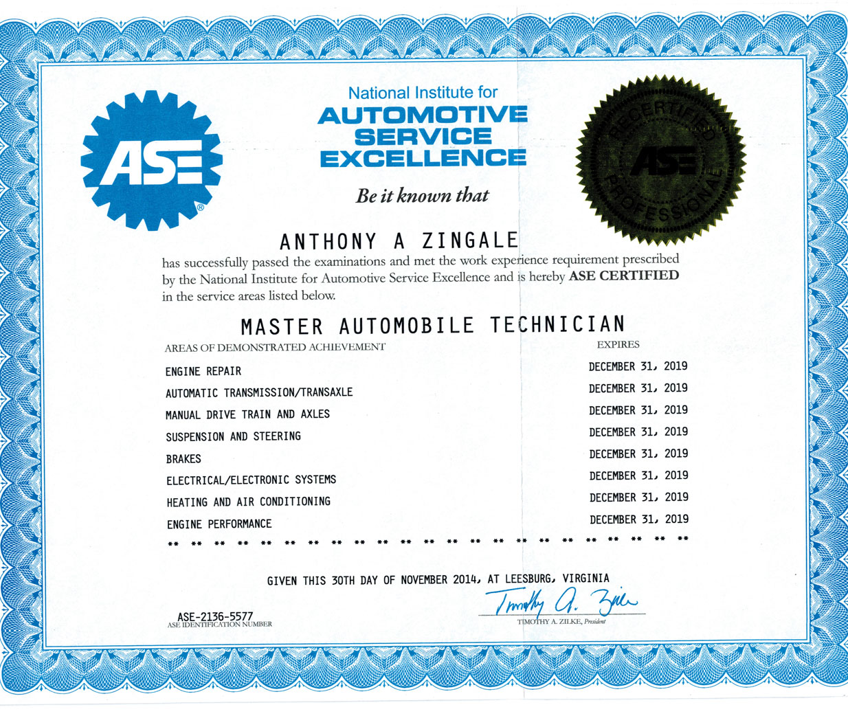 Tony Zingale | ASE Certification