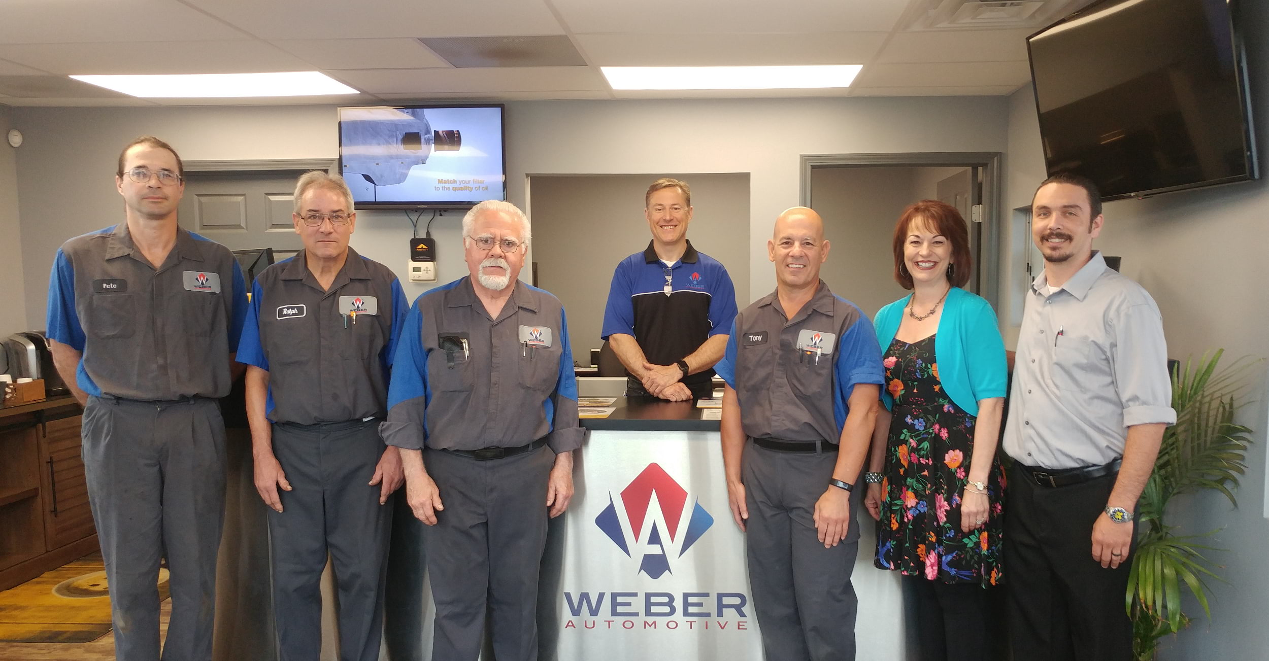 Weber Automotive Staff: Pete, Ralph, Jim, Bryan, Tony, Mary, Jason