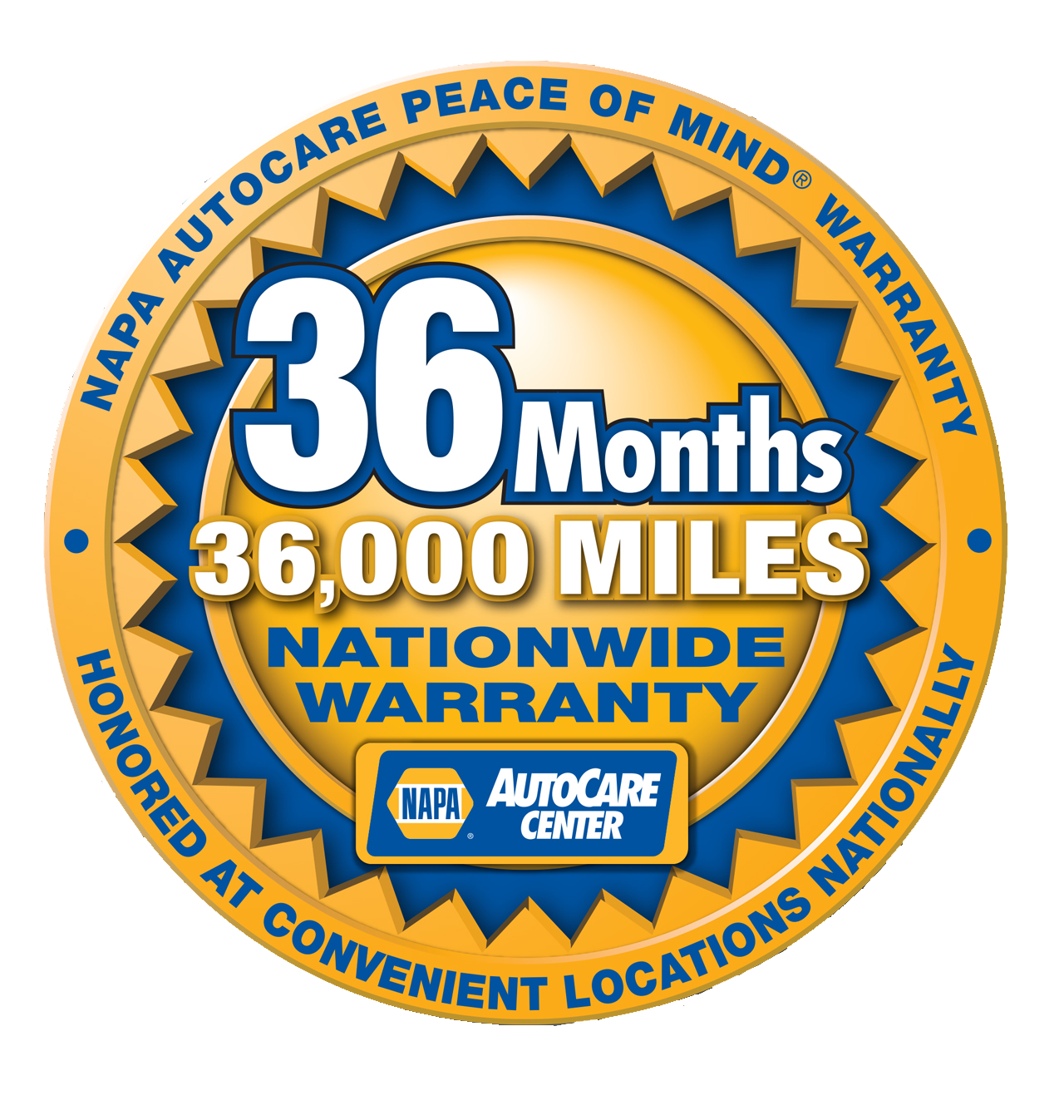 36 month warranty from Weber Automotive