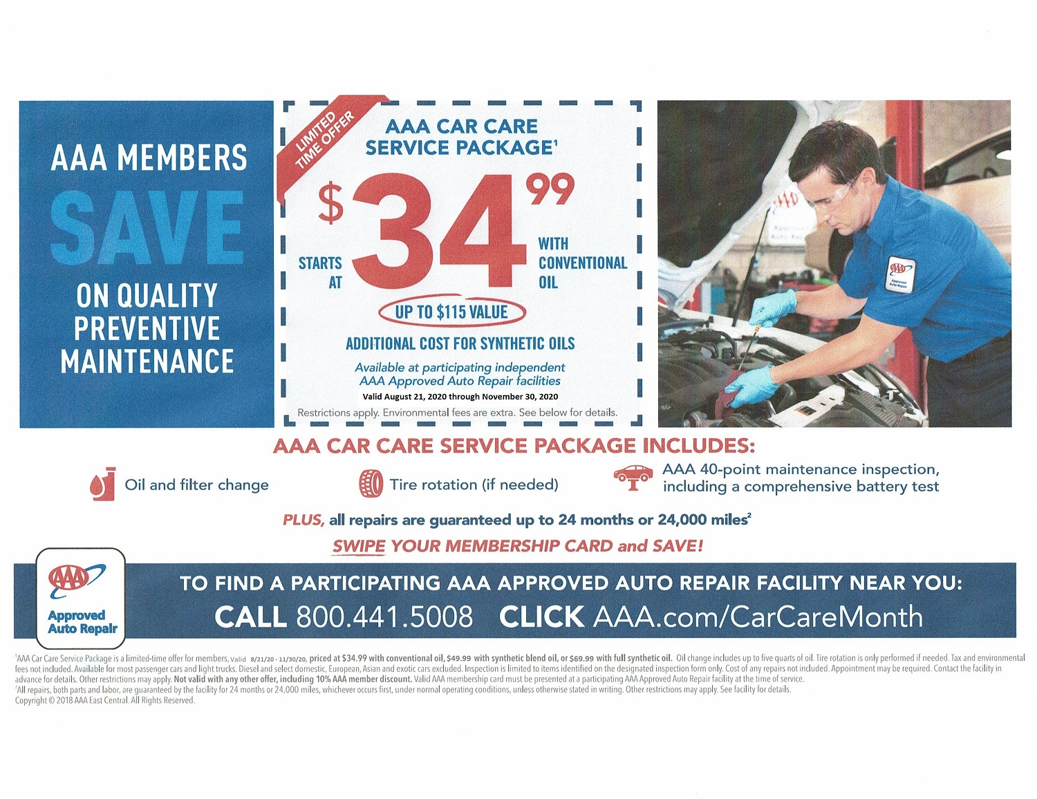 Now is the time to get your vehicle serviced before Fall! We are offering this package to ALL of our customers, and we are also extending the warranty period to 36 months or 36,000 miles! This package includes a synthetic blend oil change (up to 5 qts), tire rotation (if needed), battery test, and 40 point complimentary inspection. This is a great deal to make sure you are safe on the road before the weather changes.