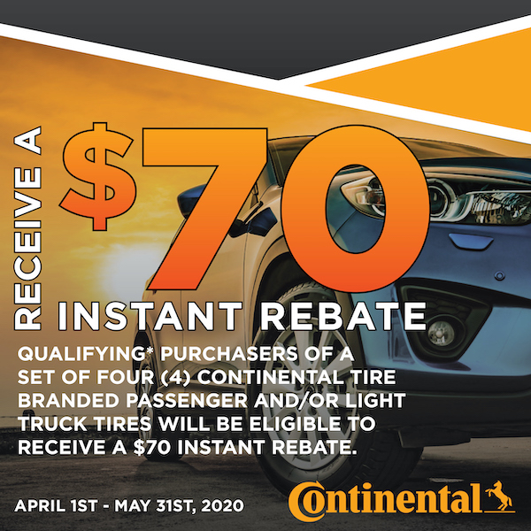 $70 Instant Rebate Continental Tire Branded Passenger And/Or Light Truck Tires