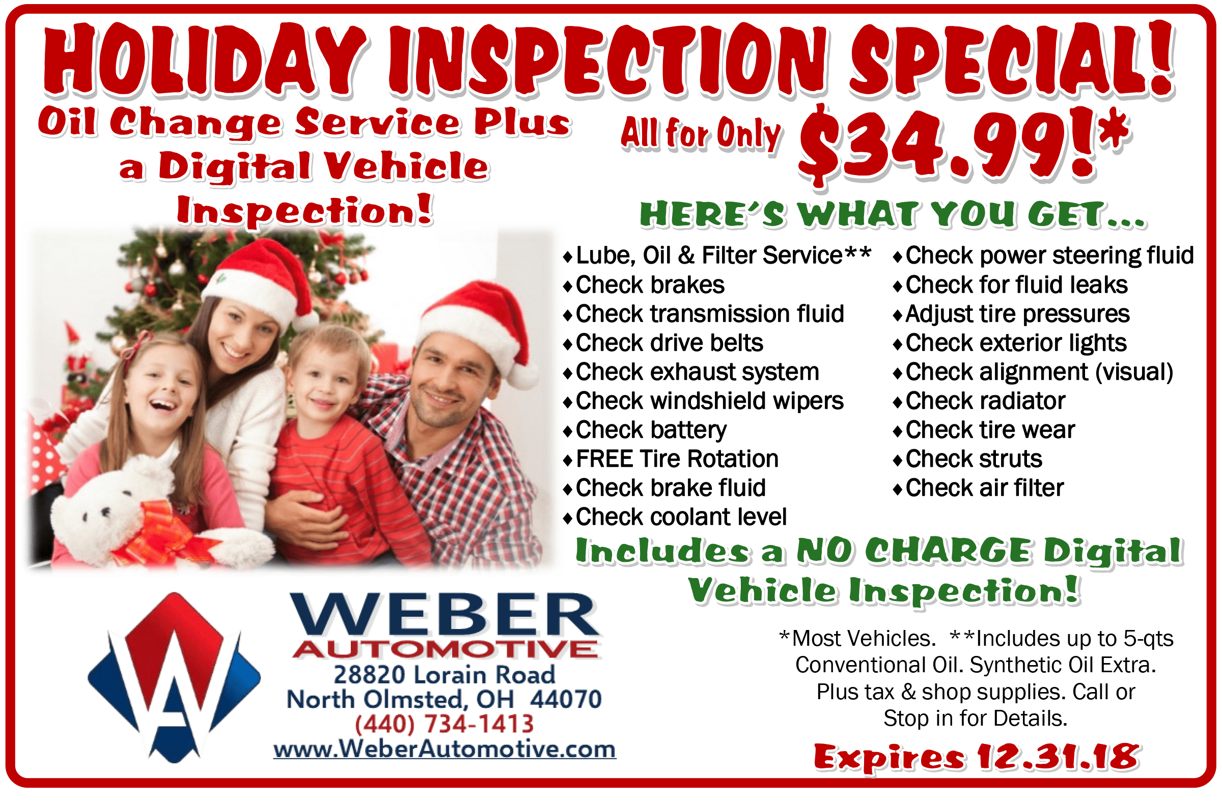 Holiday Inspection Specials