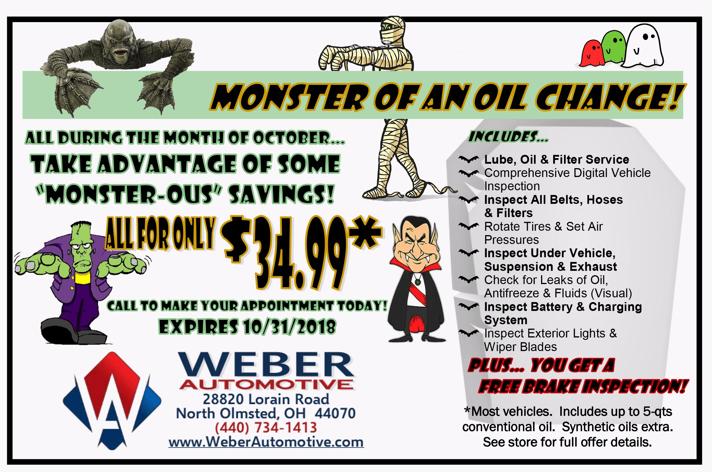 Monster of an Oil Change | Weber Automotive