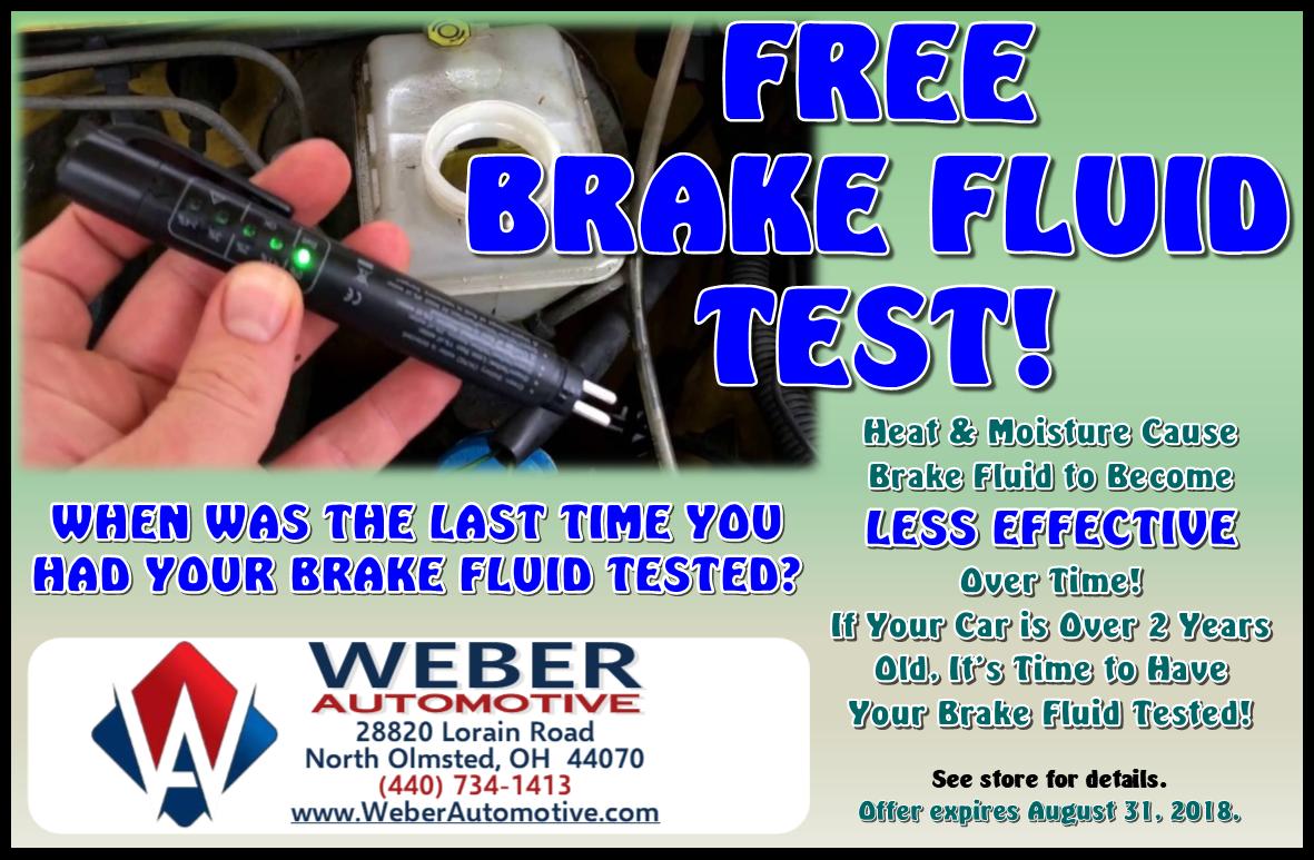 Free Brake Fluid Test at Weber Automotive