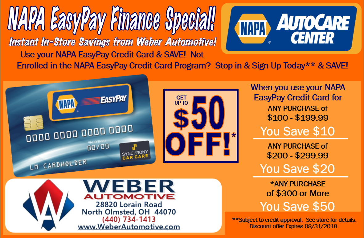NAPA Easy Pay Solutions   WEBER AUtomotive