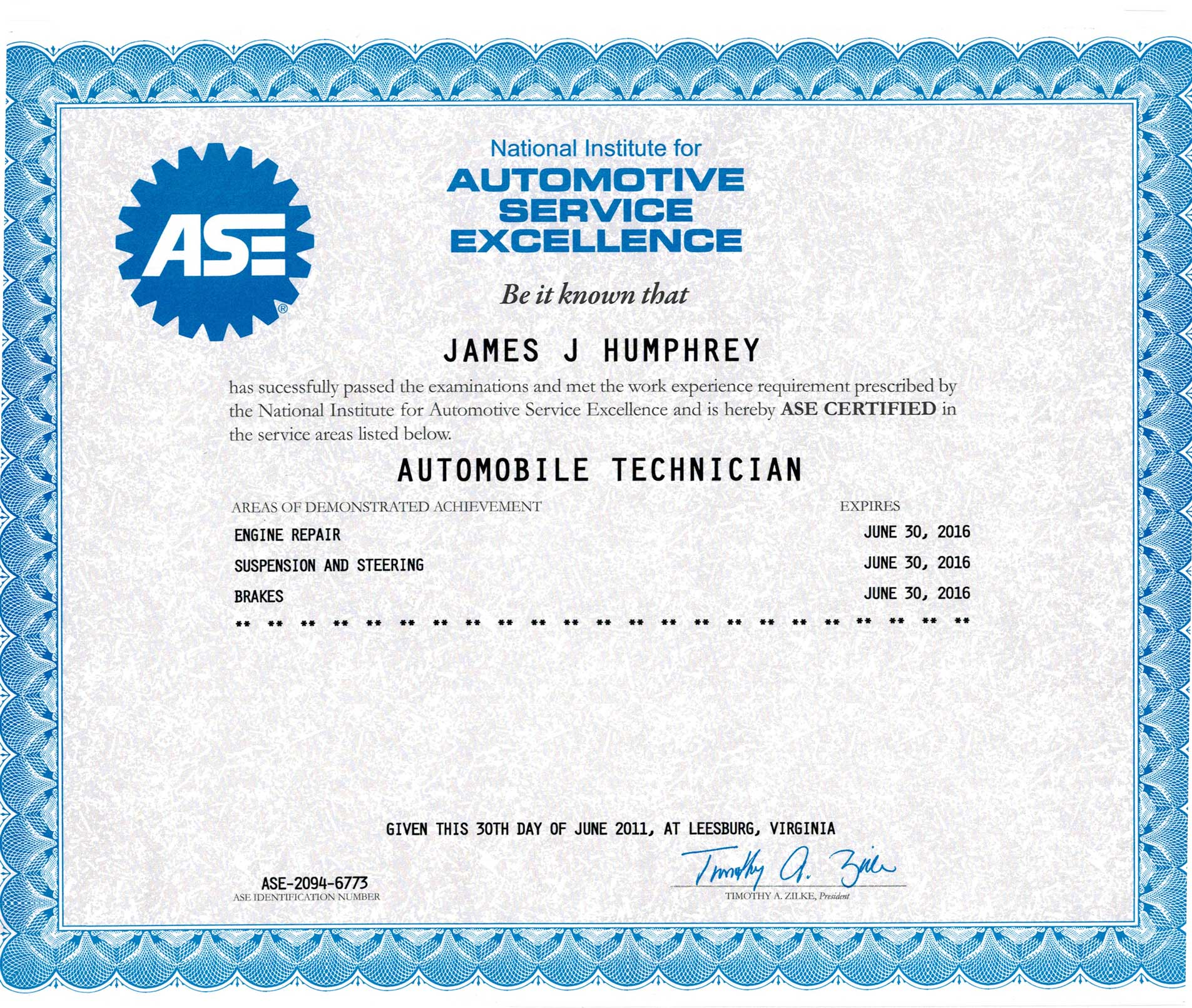 Jim Humphery ASE Certification | Weber Automotive