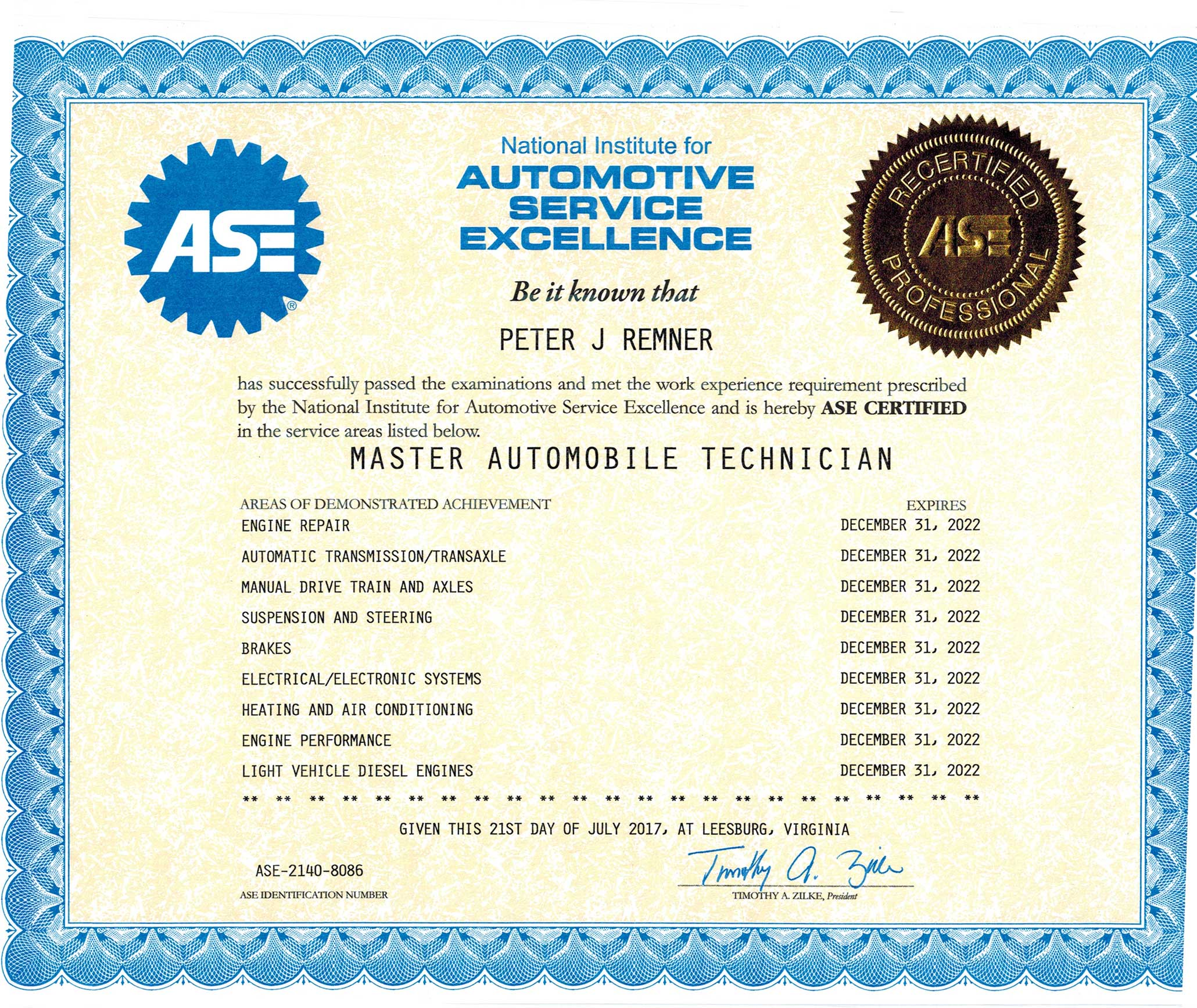 Pete ASE Certification | Weber Automotive