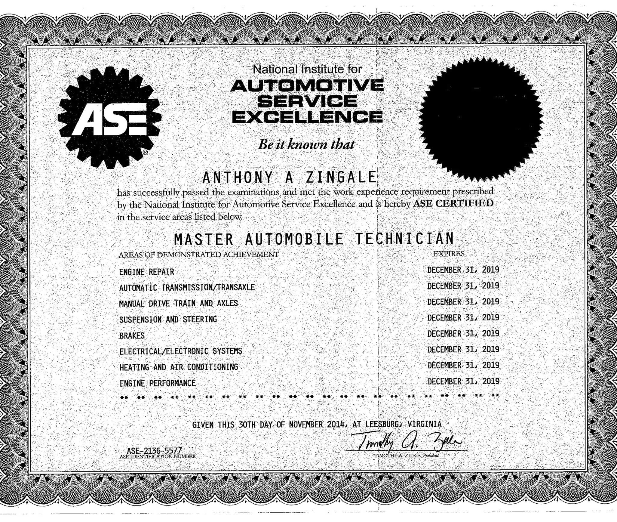 Tony Zingale   ASE Certification