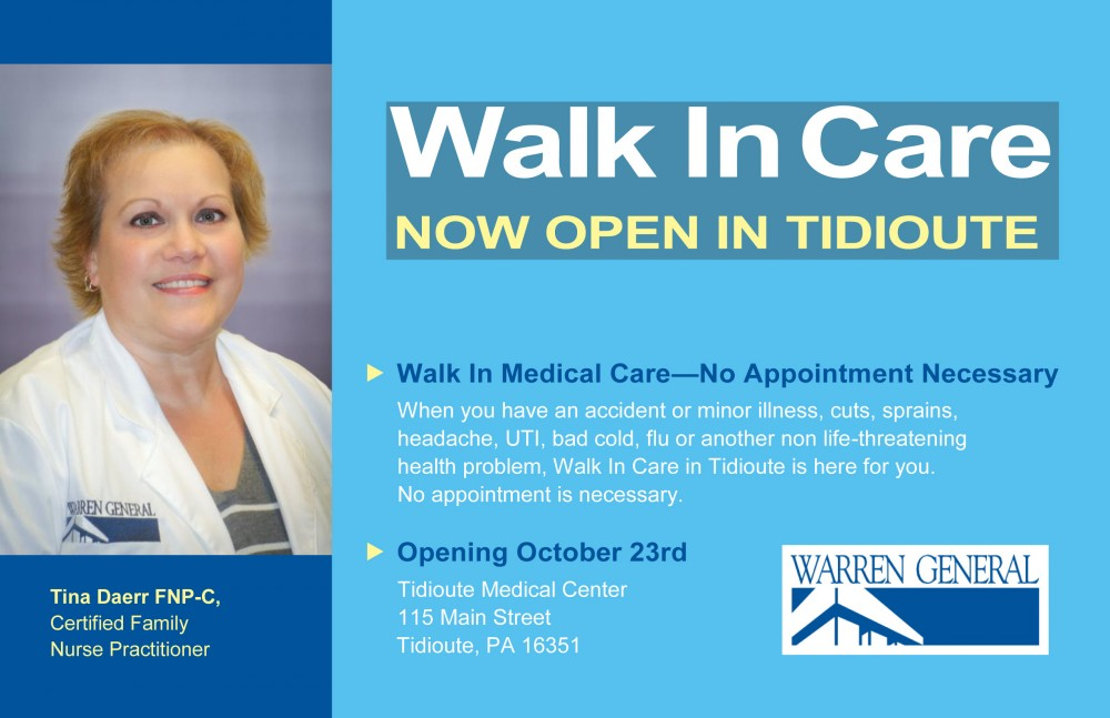 WGH Opens Walk In Service in Tidioute Medical Center
