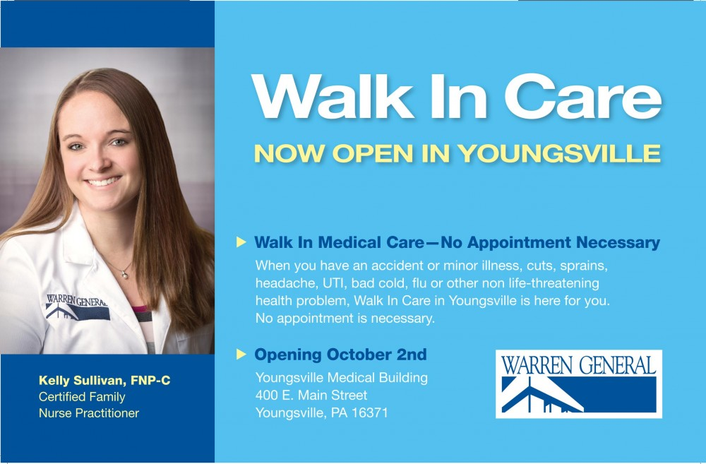 Walk In Care Service now in Youngsville