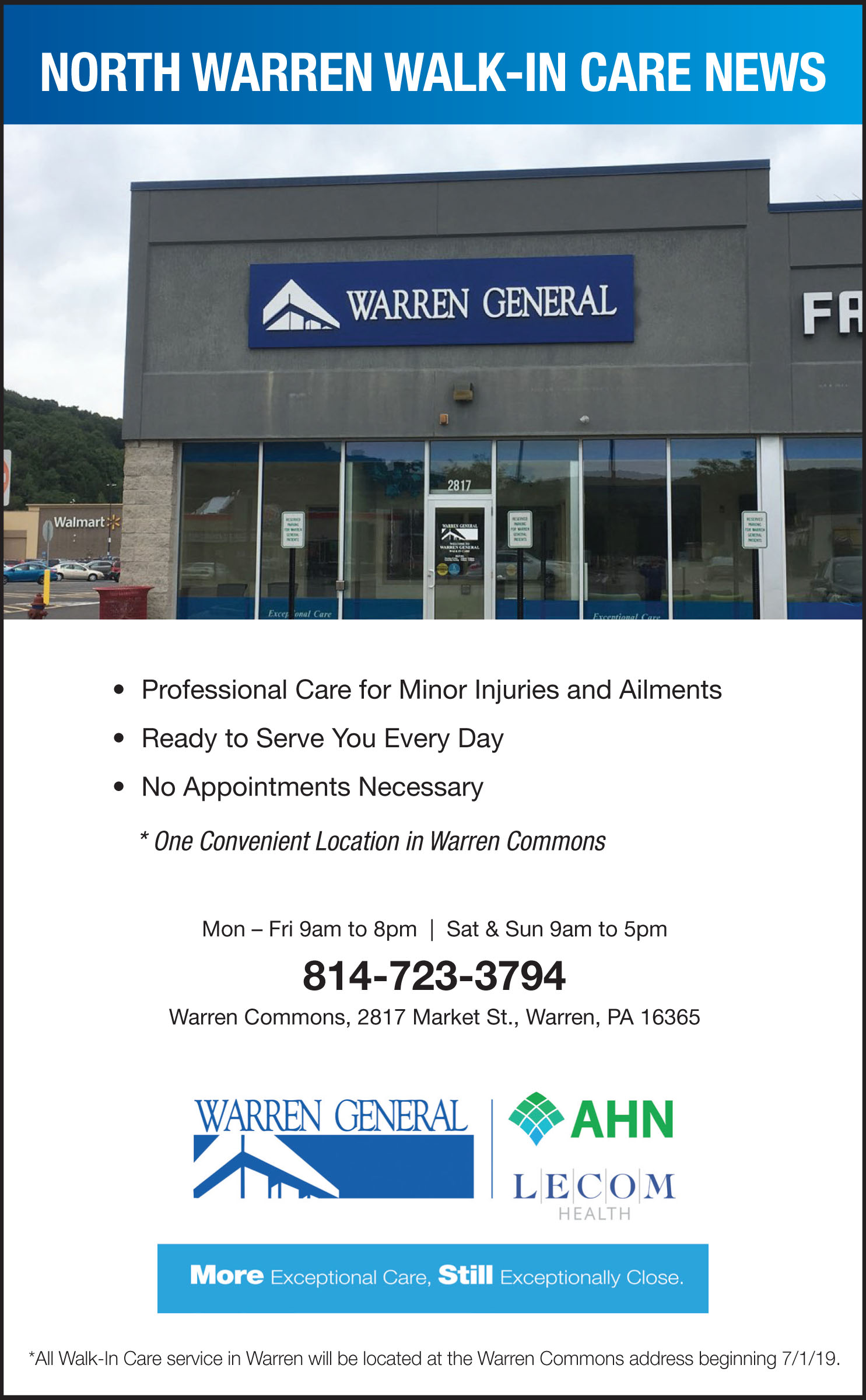 WGH North Warren Walk-In Care Service