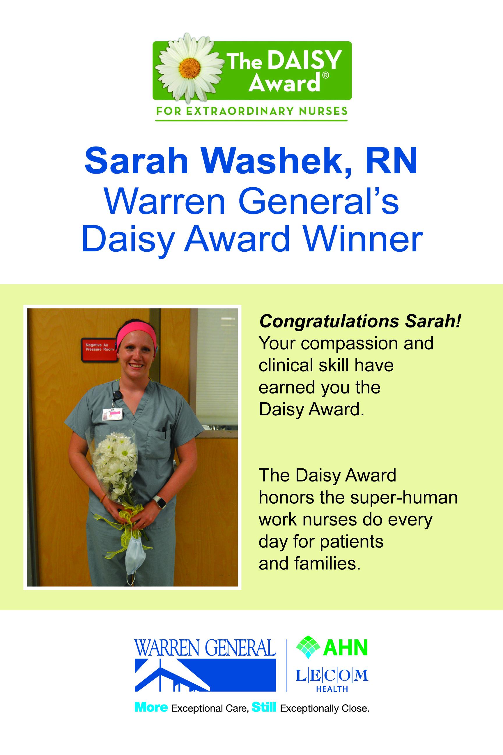 Sarah Washek RN WGH Newest Daisy Award Winner